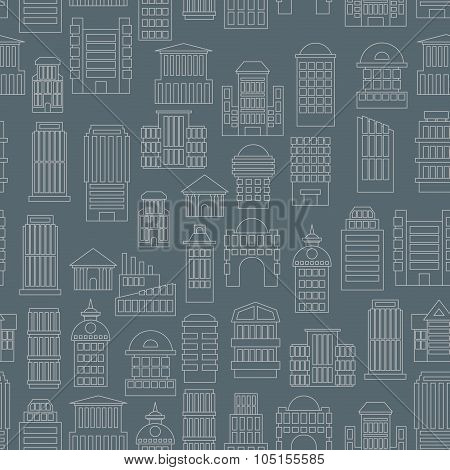 Night City Pattern. Silhouettes Of Buildings In The Dark. Evening Metropolis Seamless. Skyscrapers A