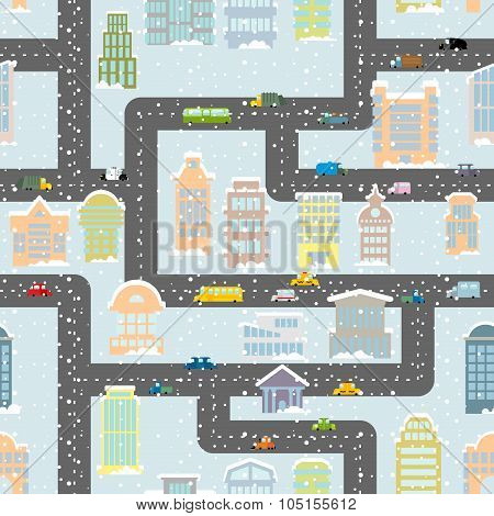 Snowfall In City Seamless Pattern. Urban Map Of Winter. Background With Roads, Real Estate And Publi