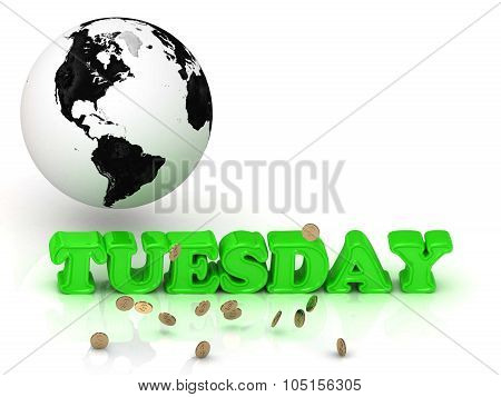 Tuesday- Bright Color Letters, Black And White Earth
