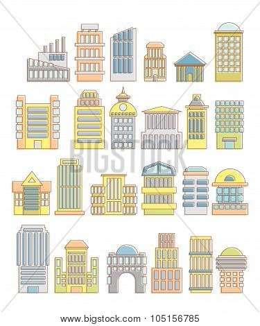Collection Of Buildings, Houses And Architectural Objects. Urban Elements In Cartoon Style. Icons Of