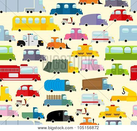 Cartoon Car Pattern. City Traffic Jam. Diverse Ground Transoprt. Background Seamless Toy Car. Passen
