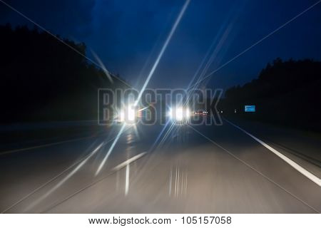 Night Highway Traffic