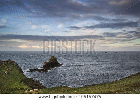 Stunning Sunrise Landscape Image Of Land's End In Cornwall England