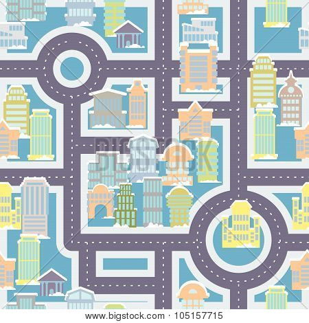 City Street Seamless Pattern. Public Buildings And Skyscrapers. Cute Ornament Houses And Roads For C
