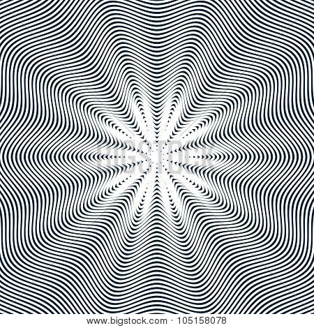 Moire Pattern, Vector Op Art Background. Hypnotic Backdrop With Geometric Black Lines. Abstract Tili