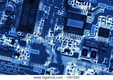Blue Glowing Circuit Board