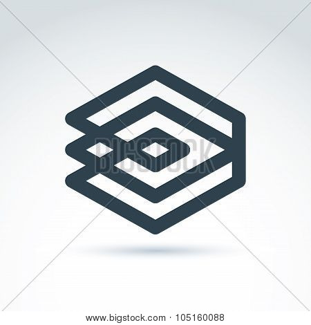Complex Geometric Corporate Element. Vector Abstract Monochrome Figure Isolated On White Background,