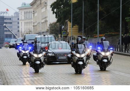 Cortege Cars Motorcycles Police