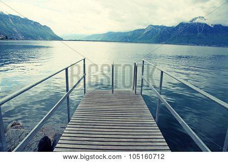 Old Wooden Pier, Lake Geneva, Montreux, Switzerland.