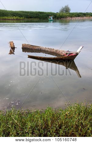 Old Shipwrecked And Reflection