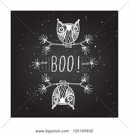 Boo - on chalkboard background.