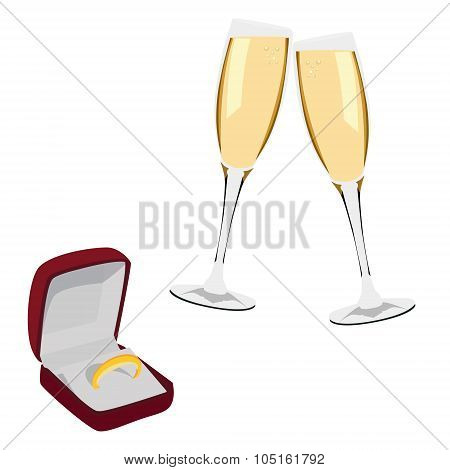 Jewellery Box With Ring And Champagne Glasses