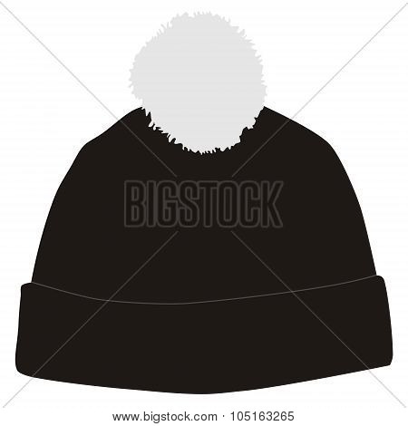 Black Winter Hat With Pompom