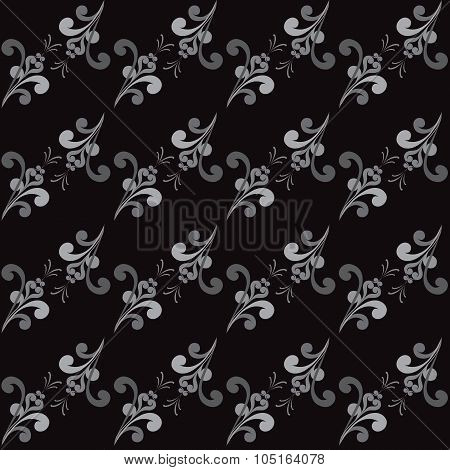 Seamless Abstract  Floral Grayscale Pattern