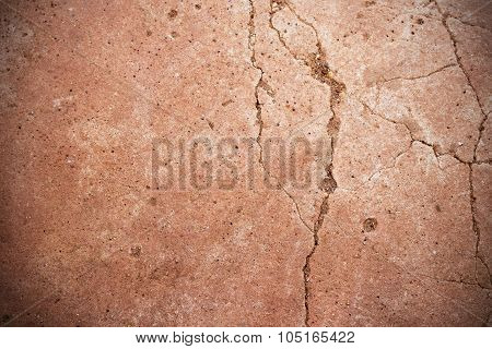 Cement Floor Cracked, Abstract Background, Vignette Corner
