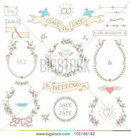 Wedding Retro Set. Hearts, Birds And Ribbons.