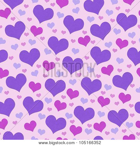 Purple And Pink Hearts Tile Pattern Repeat Background