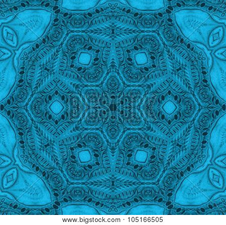Seamless ornaments turquoise blue gray