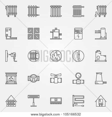 Home heating icons set