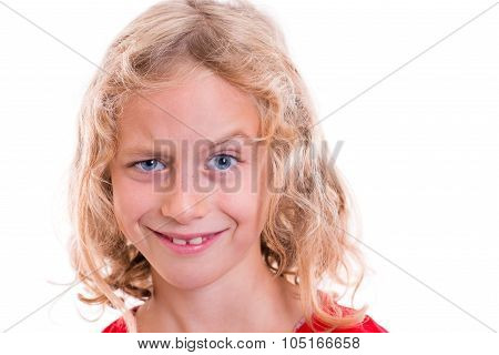 Blond Girl Looking Funny With Eyebrow Up