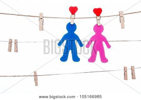 Heart  Shape Clip On A  Twine, Hanging Sweet  Couple