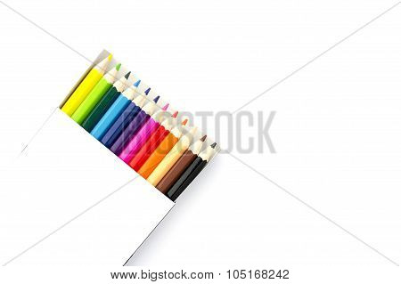 Color Pencils In A Box On White Background
