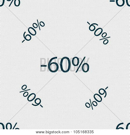 60 Percent Discount Sign Icon. Sale Symbol. Special Offer Label. Seamless Pattern With Geometric Tex