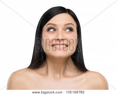 A Portrait Of Astonishing Brunette. Isolated On White Background.