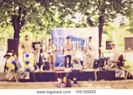 Abstract View Of Street Musicians