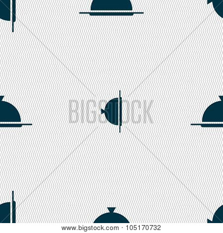 Food Platter Serving Sign Icon. Table Setting In Restaurant Symbol. Seamless Abstract Background Wit
