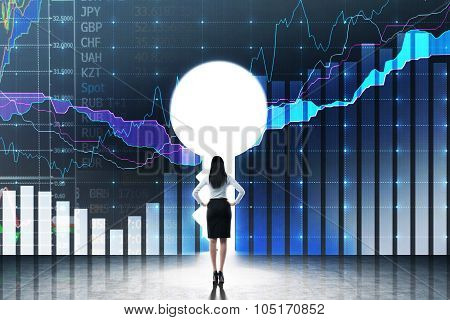 A Keyhole In The Wall With Drawn Financial Charts. A Business Lady Dressed In Formal Clothes Is Look