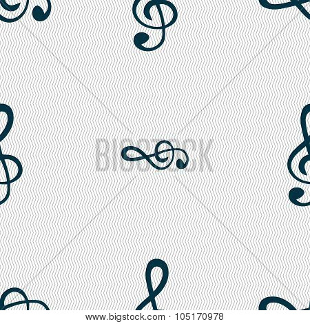 Treble Clef Icon. Seamless Abstract Background With Geometric Shapes. Vector
