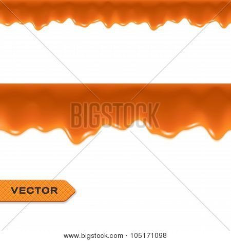 Toffee. Caramel Drips. Seamless Border. Vector