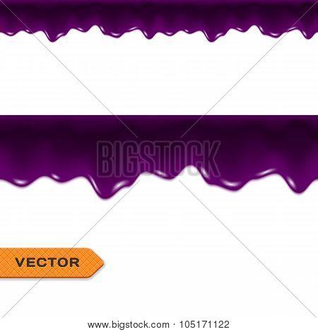 Blueberry Jam Drips. Seamless Border. Vector