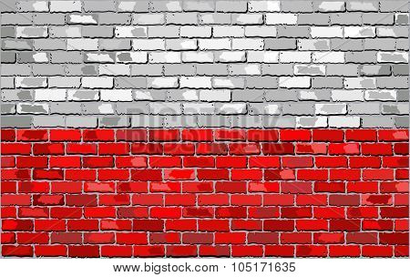 Grunge Flag Of Poland On A Brick Wall.eps