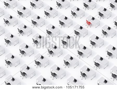 A Top View Of The Symmetric Corporate Workplaces On White Floor. A Concept Of Corporate Life. Black