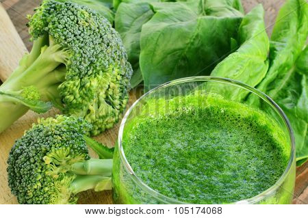 Green Vegetable Smoothie Closeup