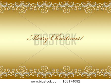 Golden Christmas Card Seamless Border With Swirly Pattern