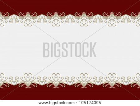 Red Background Border With Seamless Swirly Pattern