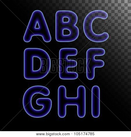 Blue x-ray neon light glowing letters set.