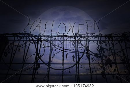 Halloween Text Over Metal Fence With Dry Leaves Over Dark Sky, Halloween Background