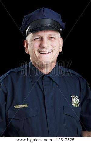 Friendly Policeman On Black