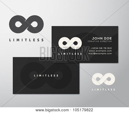 Abstract Vector Limitless Infinity Symbol, Icon or a Logo with Business Card Template Mock-up.