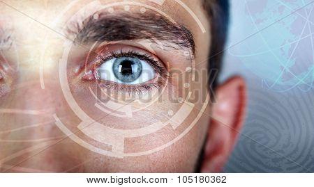 Human eye viewing digital information. Cyber technology concept