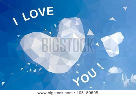Background Of Hearts In The Sky Of A Polygonal Mosaic