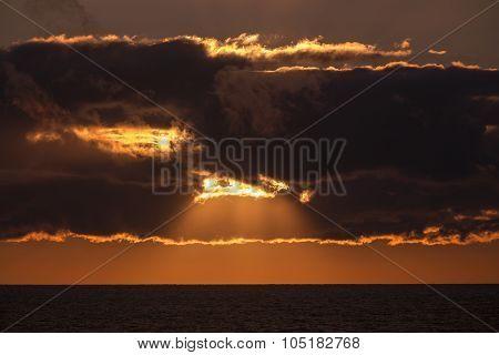 sun rays through dark cloud, Prince Edward Island