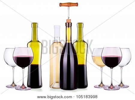 Set from red and white wine glasses, bottles