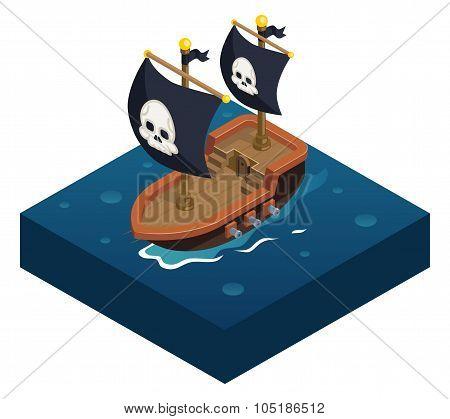 Isometric pirate ship 3d Icon symbol sea background flat design vector illustration