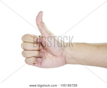 Hand Thumb Up Isolated In White Background