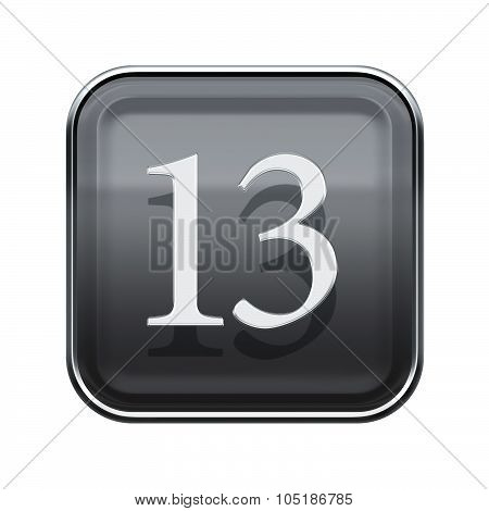 Thirteen Icon Grey Glossy, Isolated On White Background
